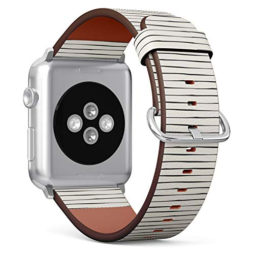 Compatible with Apple iWatch Series 1/2/3/4 (38mm & 40mm), Replacement Leather Bracelet Wristband Strap [ Striped ]