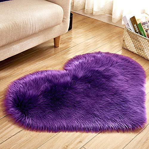 Faux Fur Sheepskin Rug, Heart Shape Imitation Wool Rug Non Slip Soft Plush Fluffy Shaggy Carpet Area Mats Bedroom Sofa Decorative Floor Carpet(Purple)