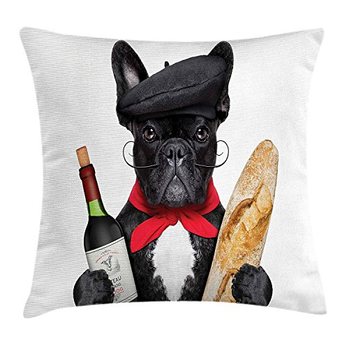 Accents Baguette (Bulldog Throw Pillow Cushion Cover, French Dog in a Hat with Red Wine and Baguette Bread Gourmet Parisienne Animal, Decorative Square Accent Pillow Case, 18 X 18 inches, Multicolor)