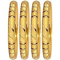 Mansiyaorange Four Traditional Fancy Designer Casual Party Wedding Wear Original Hand Work One Gram Color Golden Bangles for Women