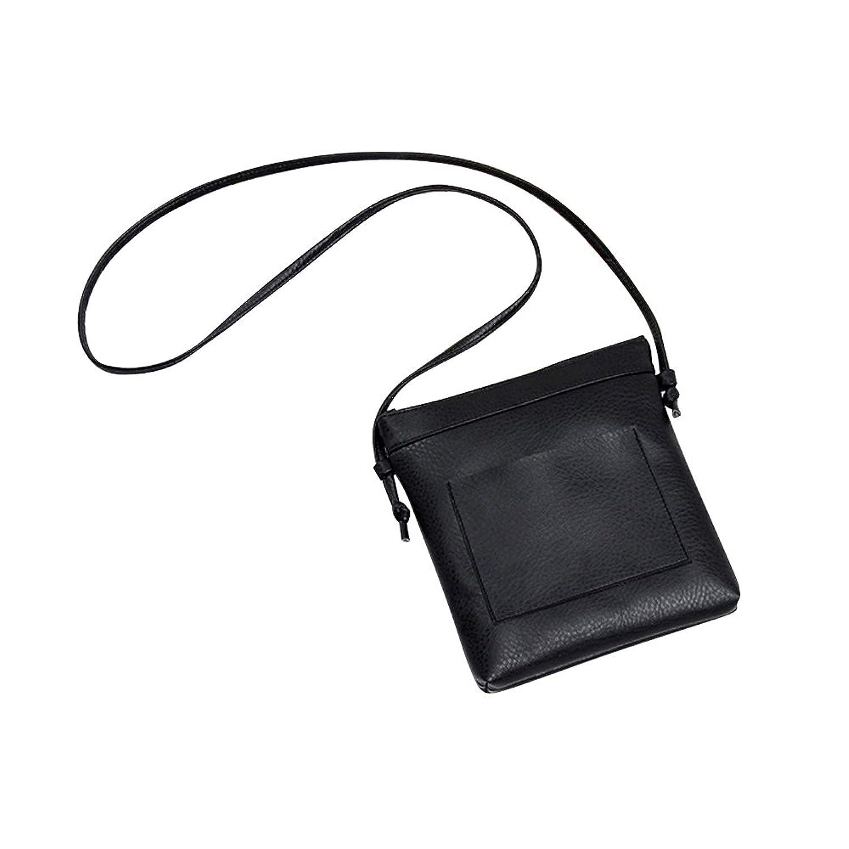 Caixia Girl's Faux Grain Leather Crossbody Bag Black Small Size