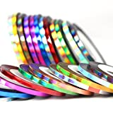 BlueZOO 24pcs Holographic Nail Striping Tapes Shining Laser Adhesive Line Decal 12 Colors DIY Styling Sticker 3mm