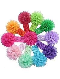 Changeshopping(TM)10 Pieces Babys Headbands Girls Headband Chiffon Flower Hair Bow
