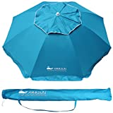 Cheap AMMSUN Outdoor Patio Beach Umbrella Sun Shelter with Tilt and Carry Bag Solid Lake Blue