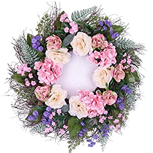 "Valery Madelyn 24"" Spring Floral Wreath for Front Door and Home Decor to Celebrate Spring & Summer Season 78"