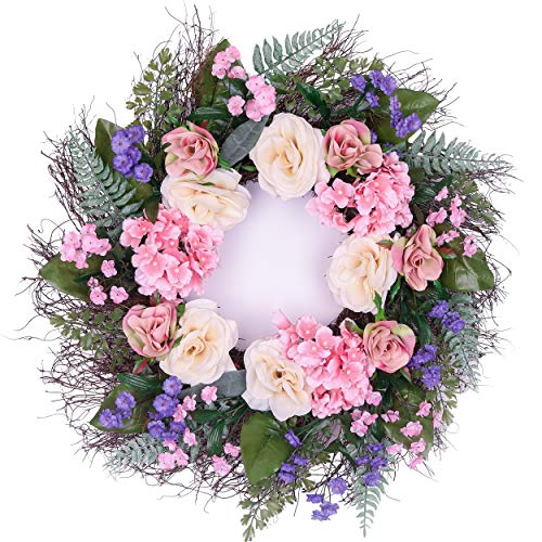 (Valery Madelyn Artificial Rose Flower Wreath - 24