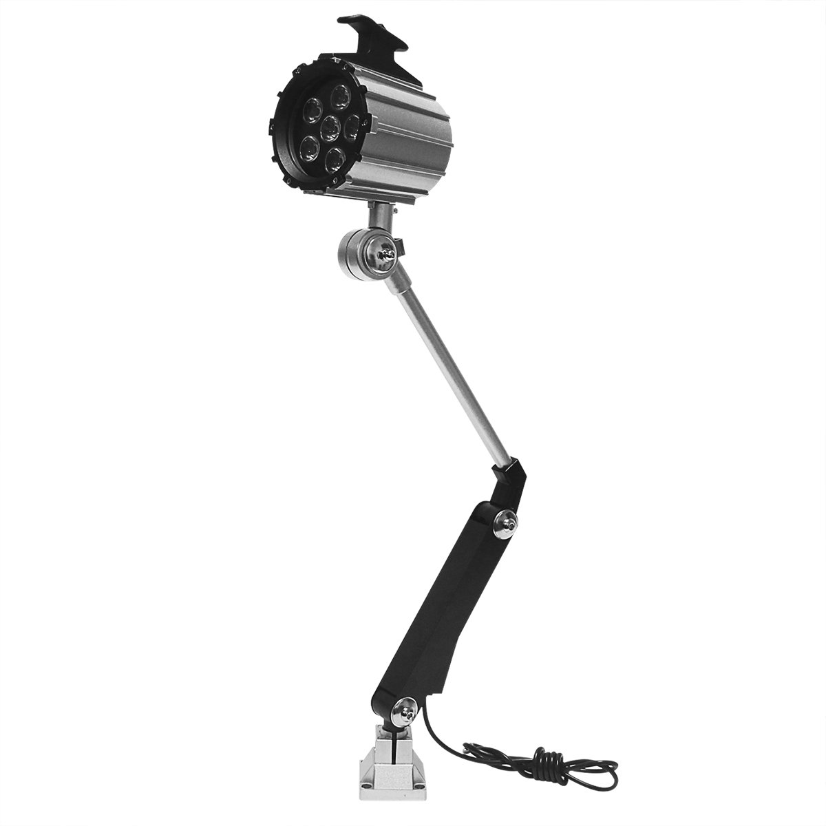 Wisamic 12W Long Arm LED Machine Work Lamp Worklight with 50,000 Hrs Service Life, Fully Adjustable Joints, 110v to 220v