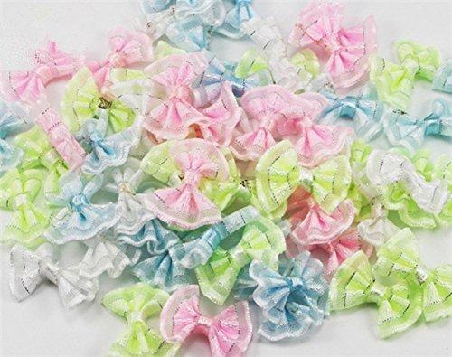 48pcs 2x2.5cm Organza Bows Girls Boutique Mini Hair Bow Headwear DIY Garment Craft (Random Color 48pcs) - Hair Bows For Girls Under $5