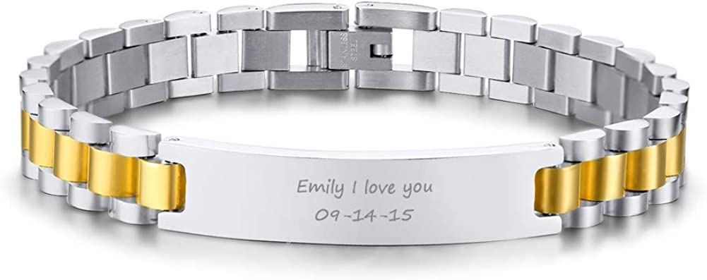 """VNOX Customize Couple Jewelry Metal Stainless Steel ID Tag Watch Band Bracelet,Gift for Anniversary,8.3"""""""