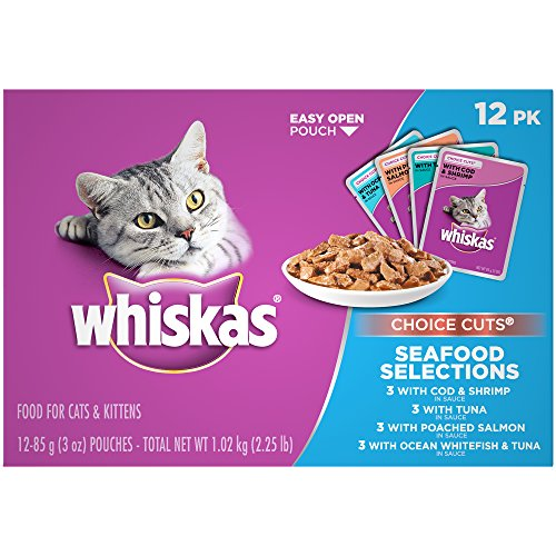 Selection Pack - Whiskas Choice Cuts Seafood Selections Variety Pack Wet Cat Food, (48) 3 Oz. Pouches