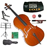 Merano 3/4 Size Cello with Bag and Bow+2 Sets of Strings+Cello Stand+Black Music Stand+Metro Tuner+Rubber Round Mute+Rosin