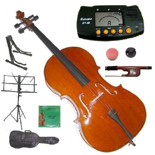 Merano 3/4 Size Cello with Bag and Bow+2 Sets of Strings+Cello Stand+Black Music Stand+Metro Tuner+Rubber Round Mute+Rosin by Merano