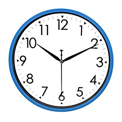 HIPPIH 10 Silent Quartz Decorative Wall Clock Non-ticking Digital (Blue)