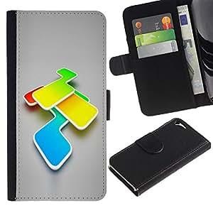 Billetera de Cuero Caso Titular de la tarjeta Carcasa Funda para Apple Iphone 5 / 5S / Abstract Colors / STRONG