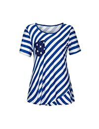 Ladies Loose Summer Short Sleeve Multicolor American Flag Tank Half Half T-Shirt Top Independence Day