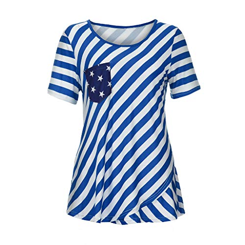 FengGa Womens Print T-Shirt Summer Fashion Independence Day Short Sleeve Casual Tank Tops Short T-Shirt Blouse Blue
