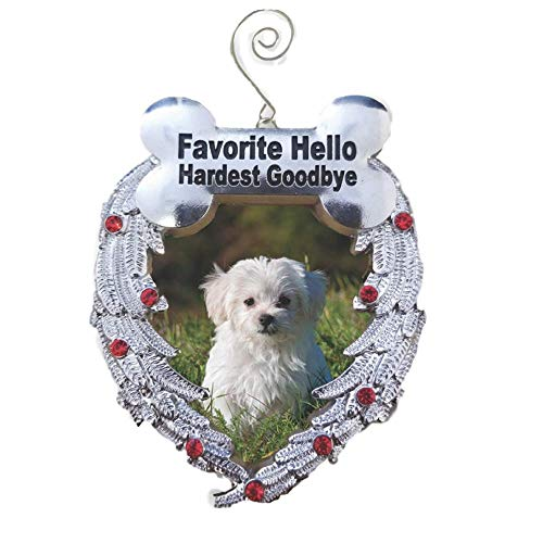 BANBERRY DESIGNS Pet Memorial Photo Christmas Ornament - Favorite Hello Hardest Goodbye Saying - Loss of a Dog Ornament (Christmas Personalized Ornament Dog)