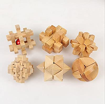 3D Wooden Cube Brain Teaser Puzzle-set of 6 Child and adult preferred wisdom gift