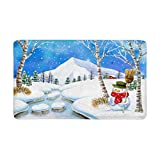 InterestPrint Snowman Holding Broom Next to Snowy Creek Anti-Slip Door Mat Home Decor, Indoor Entrance Doormat 30''(L) x 18''(W) inches Entryway Mat Decor