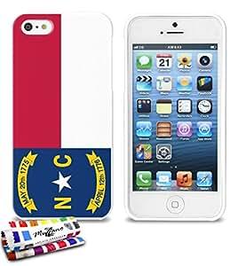 Carcasa Flexible Ultra-Slim APPLE IPHONE 5S / IPHONE SE de exclusivo motivo [Carolina del Norte Bandera] [Blanca] de MUZZANO  + ESTILETE y PAÑO MUZZANO REGALADOS - La Protección Antigolpes ULTIMA, ELEGANTE Y DURADERA para su APPLE IPHONE 5S / IPHONE SE