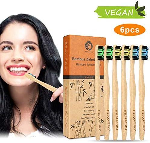 Cepillo Dientes Bambu, Paquete de 6 Cepillos
