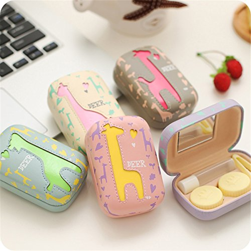 Travel Portable Cute Deer Animal pattern Contact Lens Case Eye Care Kits Holder with Mirror Mini (C2) by Jusxout (Image #3)