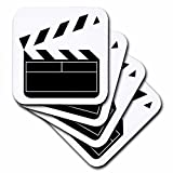 3dRose cst_43830_1 Movie Clapboard-Soft Coasters, Set of 4
