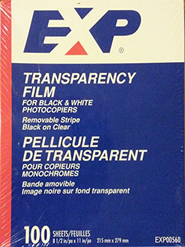 - EXP Clear Transparency Film for Black and White Photocopiers / Copiers with Removable Stripe - EXP00560