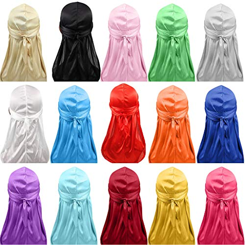 Toponly Satin Turban Long Tail Bandana Chemo Hat for Men Women Hijab Cap Hair Accessories Purple by Toponly women T-shirt (Image #2)