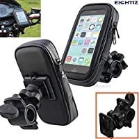 Eightiz 360 Degree Rotation Waterproof Bike/Motorcycle Mobile Holder Zip Pouch Style Mount Stand for Smartphone/GPS and Upto 5.5inch Device (Black)