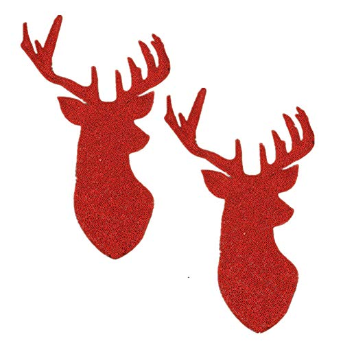 - 2 Pack Jumbo Christmas Deer Head Iron on Patches Sew on Embroidered Patch Sequin Appliques for DIY Motif Family Chritmas Tops Home Decor (Red)