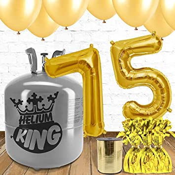 75th Birthday Gold Balloons And Helium Gas Package Amazoncouk Toys Games