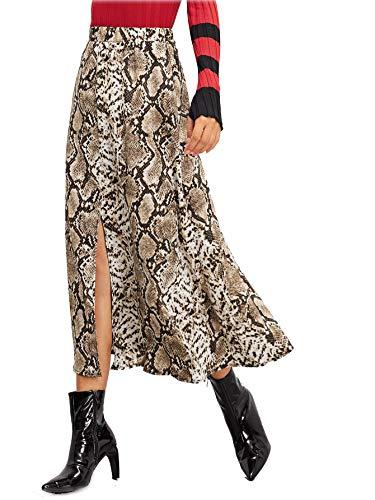 ROMWE Women's Long Mid Waist Animal Snake Skin Graphic Print A Line Split Skirt M