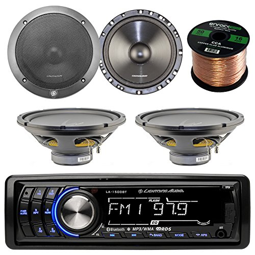 "Lightning Audio by Rockford Fosgate LA1500BT MP3 Bluetooth Stereo Receiver Bundle Combo With 2x 6.5"" Inch Full Range Black Car Coaxial Speakers + 2x 12"" Single Voice Coil Subwoofer + Enrock 50Ft Wire"