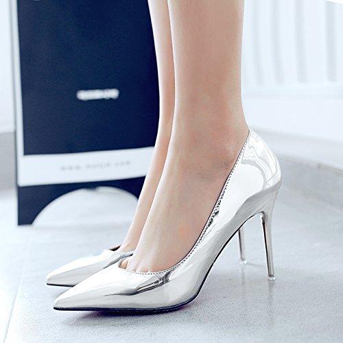 Chaussure Mince Des Polyvalents Hauts Chaussures En t Avec Et Professionnelle Au Talons Printemps Argent Punta Pour Fille 36 Uniquement Negra Ans qX78zwxxa
