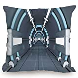 roho cushion toilet seat KissCase Throw Pillow Cushion Cover,Outer Space Decor,Fantastic Inner View of Rocket Structure Cyber Hallway Trip to Dark Matter,Gray Blue,Decorative Square Accent Pillow Case