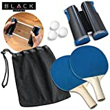 Black Series Retractable Table Tennis Ping Pong Equipment Set with Paddle/Racket x2, Net and Post, Balls x3, Attaches to Any Dining Table Top, for Kids and Adults, Includes Mesh Carrying Case/Pouch
