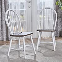 Crosby Farmhouse Cottage High Back Spindled White Framed Rubberwood Dining Chairs with Brown Seat (Set of 2)