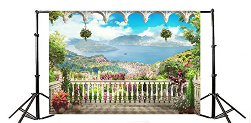Yeele 8x6ft Balcony Fresco Panoramic Lake View Photo Backgrounds Vinyl Wall Antique Arch Baluster Fresco Landscape Photography Backdrops Family Party Decoration Studio Props