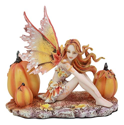 Ebros Amy Brown Tribal Fairy Godmother with Pumpkins Statue 5