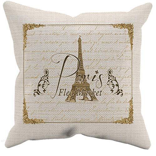 - Paris Flea Market Pillow Case, Paris Pillow Cover, Rustic Decor, Pillow Cover 45cm x 45cm, French Home Decor, Decorative Pillow Cover