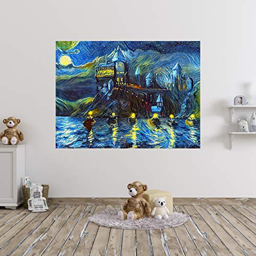 Westlake Art - Starry Night Boats Wall Sticker Vinyl Decal for Nursery, Bedroom, Living, Children Room, Decoration, Decorative Van Gogh Style - 16x20in