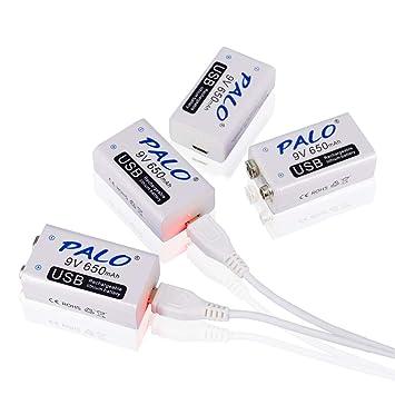 Palo 4 Pack 9V Batería Recargable USB 650mAh Li-Ion con 2 en 1 Cable USB para Alarma de Humo de micrófono de Teclado