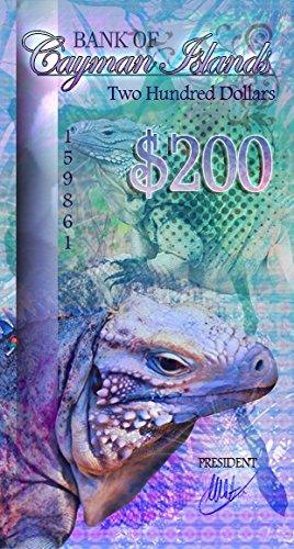 200 Dollars Polymer 2016 Cayman Islands Blue Iguana TANUKI COINS