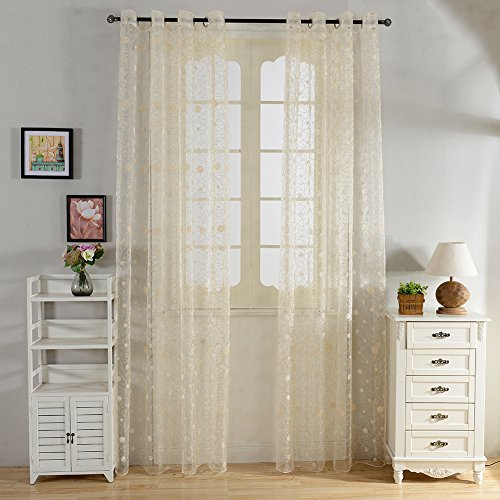 Top Finel Window Treatments Embroidered Polka Dot Sheers Curtains Panels 54 X 84 inch Length Set of 2,Light Yellow,Grommets (Polka Curtain Dot)