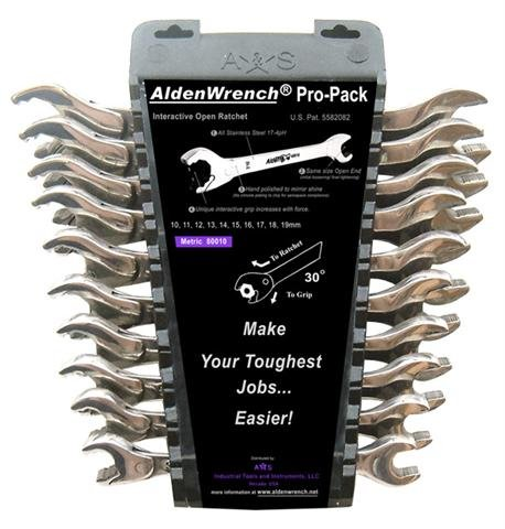 Alden 10-Piece METRIC Open-Ratcheting Wrench (Alden Open Ratchet Wrench)