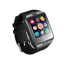 longiko Bluetooth NFC Wireless Smartwatch with Camera,Q18 Watchphone TF/SIM Card Slot (Black)