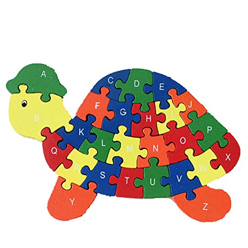 DOUYYE Counting Tortoise Wooden Letters and Numbers Jigsaw Puzzles ,Family Game for Kids ,Interactive Educational Toys for Age 3 4 5 Years Old and Up Baby Preschool Toddler Boys Girls, Birthday Gift