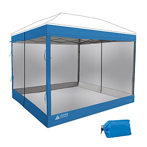 Leader Accessories Mesh Screen Zippered Wall Panels for 10 x 10 Canopy (Tent Walls Only, Frame and Top Not Included) (Blue mesh Wall)