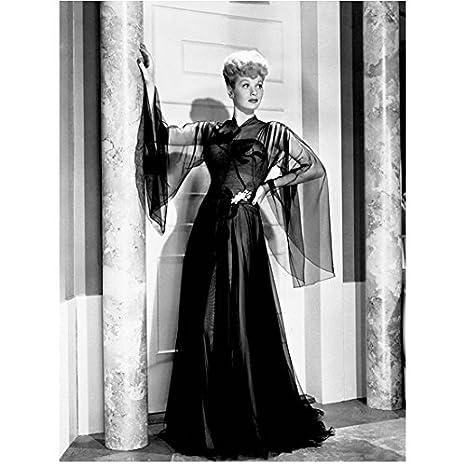 Lucille Ball Posing Next To Pillar In Long Black Sheer Dress 8 X 10